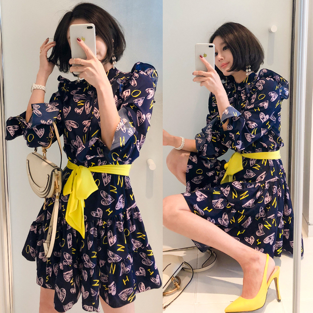 CINESSD Sexy Elegant Flower Print for Women halloween Dresses Long Sleeve Polyester Stand Neck Casual Party Vestidos Plus Size 2