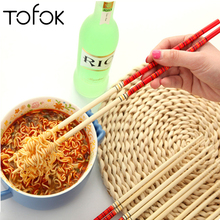 Tofok Natural Bamboo Chopsticks Healthy Chinese Long Noodle Chop Stick Hashi Sushi Food Reusable Cutlery Kitchen Tableware