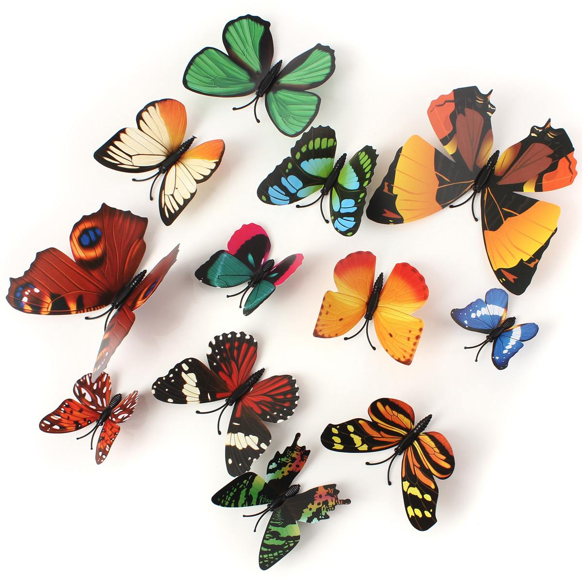12PCS/Lot Artificial Butterfly Garden Decorations Simulation Butterfly Stakes Yard Plant Lawn Decor Fake Butterefly Random Color