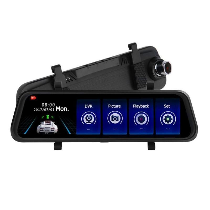 9,88 pulgadas IPS Cámara DVR pantalla táctil 2.5D espejo retrovisor de coche Dual de la lente grabadora de Video de la noche visión Dash Cam 170 de ángulo ancho caliente