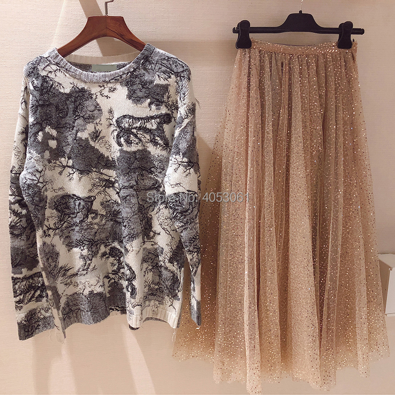 Top Quality Cashmere Forest Animal Jacquard Knit Sweater   2019 Spring  Runway Fashion Style  Ladies Knitted Pullover Top-in Pullovers from Women's Clothing    3