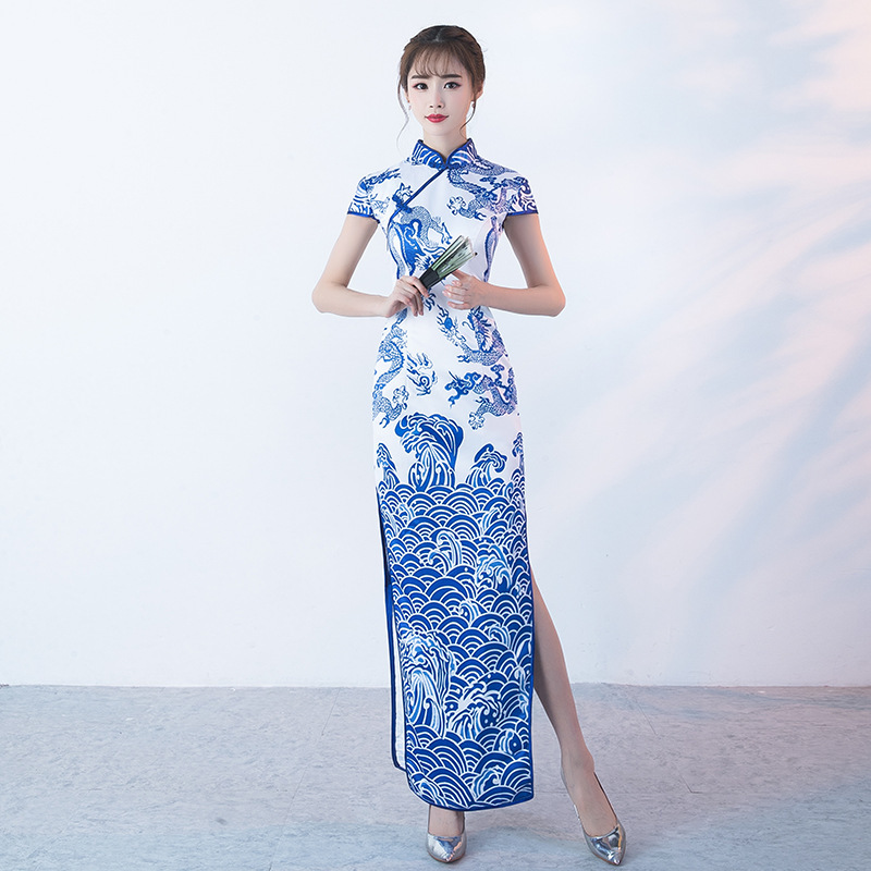 SHENG COCO Porcelain Chinese Dresses Long Blue White Dragon Pattern Cheongsam Asian Style Traditional Vintage Satin