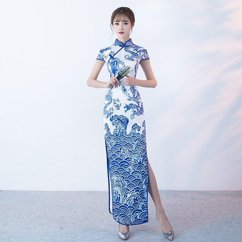 SHENG COCO porcelaine robes chinoises longues bleu blanc Dragon motif Cheongsam Style asiatique traditionnel Vintage Satin soirée Qi