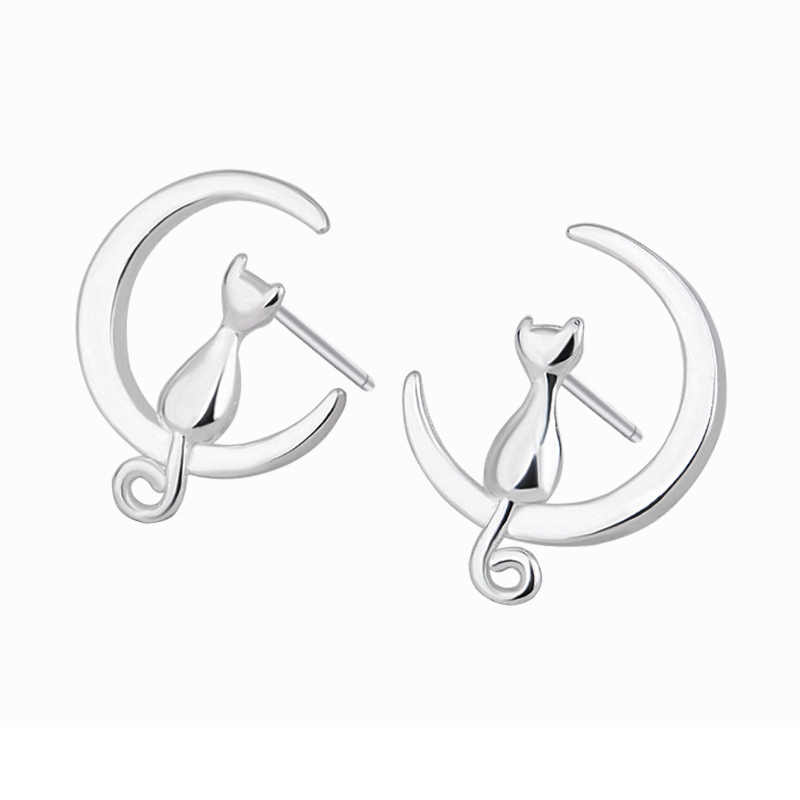 ... Fairy romance Cat on the Moon Stud Earring Hot Sale Girls Silvery Free  Shipping Cute Sweet ...