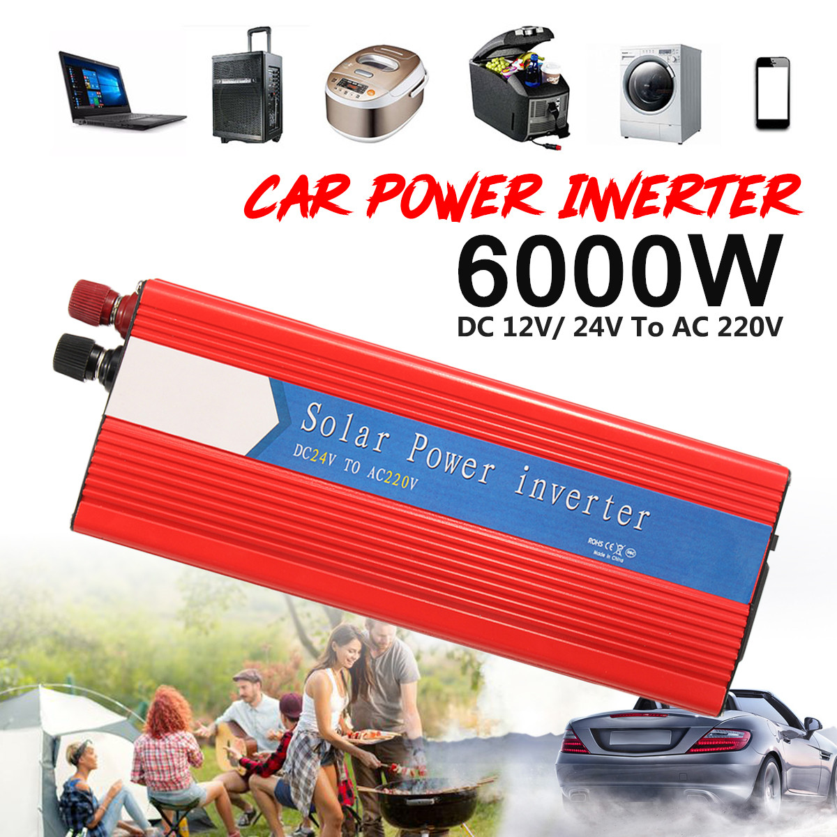 Пик 6000 Вт автомобиля Мощность инвертор волна преобразователь 12/24 В к AC 220/110 В USB синуса Напряжение трансформатор Универсальный Интеллектуал...
