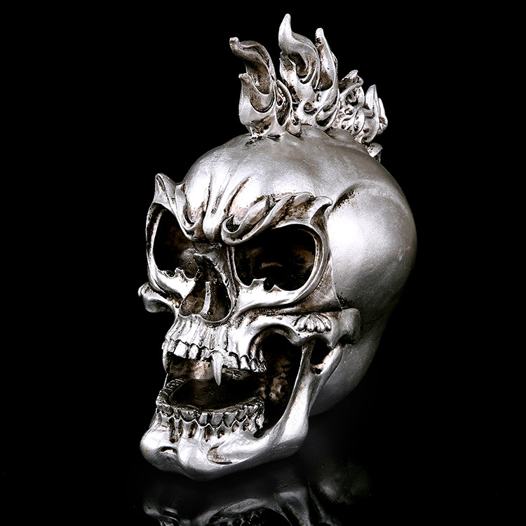 Skull-Model Handicrafts Halloween-Decoration Resin Extraterrestrial Gift Fire-Ghost Silvery