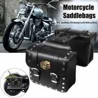 2pcs Motorcycle PU Leather Side Saddlebag Luggage Saddle Bag Black for Harley
