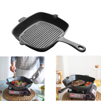 1 PC 26cm Non Stick Pan Cast Iron Square Grill Steak Frying Pan For Electric Or Gas Stove Tops (Black)
