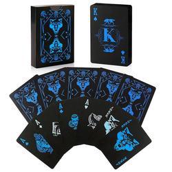 55 pçs lobo impresso poker à prova dwaterproof água pvc jogar cartas conjunto cor pura preto poker cartão clássico truques mágicos ferramenta jogo festa brinquedo