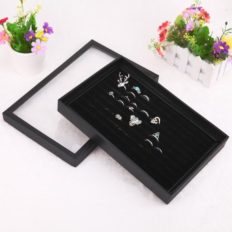 Portable Jewelry Studs Rings Earring Insert Display Cufflinks Organizer Box Flat Tray Holder Storage Showcase 29x18.5x4cm