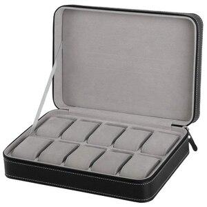 Image 1 - Caja de Reloj portátil organizador PU joyero de cuero con cremallera estilo clásico 10 rejillas Multi pulsera funcional estuche de exposición