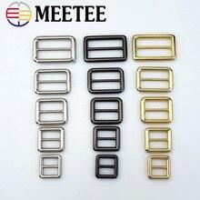 6cd2701648ad 4 piezas Meetee Tri-anillo ajustable hebilla de Metal deslizante rectángulo  para mochila correas de la bolsa de bricolaje acceso.