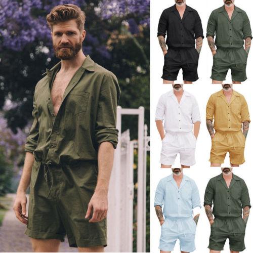 2019 Brand New Fashion Mens Short Sleeve Pants Suits Shorts Casaul   Jumpsuit   Playsuits