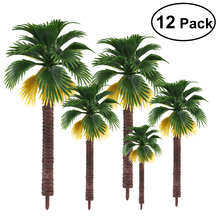 12pcs Layout Rainforest Plastic Palm Tree Diorama Scenery Cute Mininatures DIY House Decoration (The color of root is random)