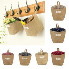 Льняная настольная корзина из джута с подкладкой из хлопка, канцелярские принадлежности, косметический контейнер, коробка для хранения, украшение дома, цветочный горшок с ручкой
