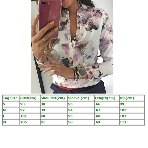 Ol Moda Casuales Multiple Floral Manga Camisas Blusas Top Larga Señoras Las Estampado De Mujeres qwSaf1E