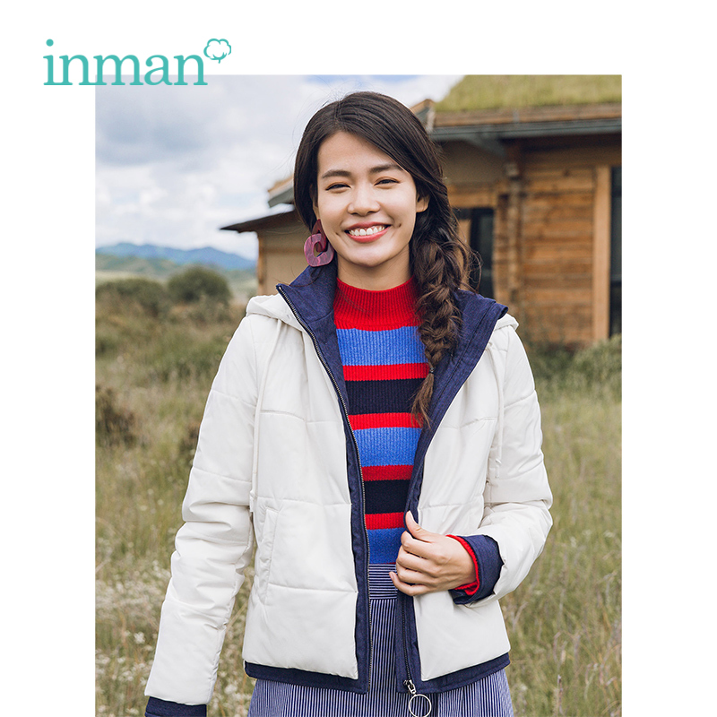 INMAN Winter New Arrival Hooded Warm Patchwork Jean Fake Two pieces Suits Short Woman Cotton Jacket