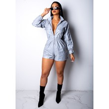 Fashion Reflective Jumpsuits Women Zipper Long Sleeve Short Romper Casual Overalls Night Club Playsuit