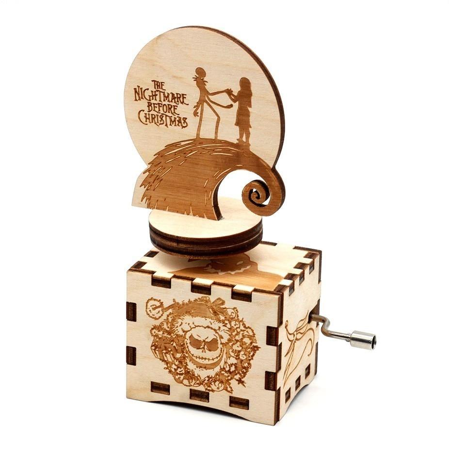 New Antigo Esculpido Halloween Tema da Manivela da Caixa de Música de Madeira Presentes de Aniversário Presentes do Dia das Crianças