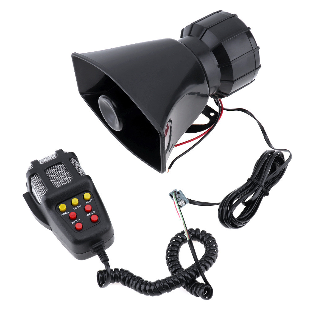 100W 12V Auto Car Motorcycle Vehicle Warning Siren Alarm Loud Horn Police Firemen Ambulance Loudspeaker 7 Sound Tone with MIC