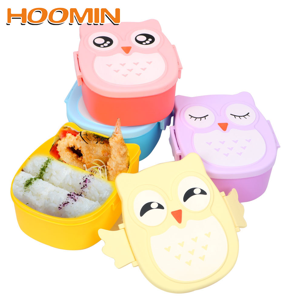 HOOMIN With Spoon Fork Children Bento Boxes Lunchbox Food Container Storage Case Cute Owl Shape Lunch Box 900ML