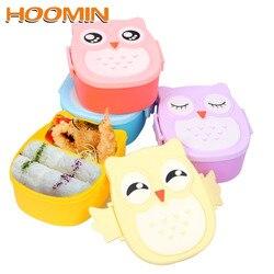 HOOMIN z łyżka widelec dzieci pudełka Bento Lunchbox pojemnik na żywność pojemnik do przechowywania przypadku Cute sowa kształt pojemnik na Lunch 900 ML w Pudełka śniadaniowe od Dom i ogród na