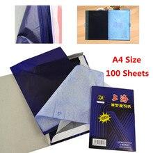 A4 100 листов темно-синий карбоновый ручной копировальный трафарет, переводная бумага, гектограф, черный карбоновый ручной копировальный трафарет, переводная бумага