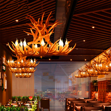 Nordic Candle Antler LED Chandelier Lighting American Retro Resin LOFT Horn LED Pendant Lamps Home Decoration Kitchen Fixtures