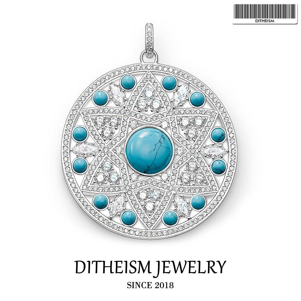 Blau Stein Cz Ornament Disc Anhänger, 2018 Mode Schmuck 925 Sterling Silber Trendy Geschenk Für Frauen Mädchen Fit Halskette