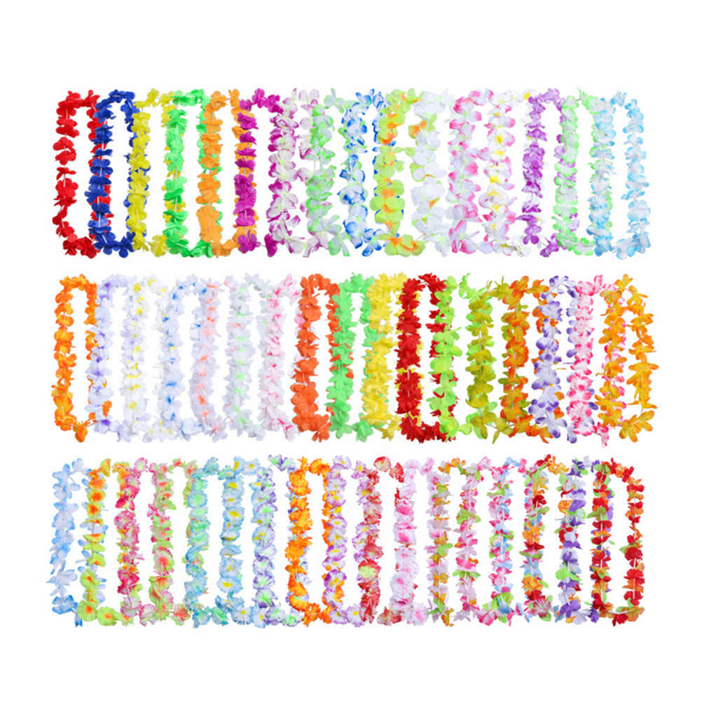 50PCS Colorful Hawaiian Leis Necklace Wreaths Flower Garland Tropical Luau Party Favors Beach Hula Costume Accessory Wedding