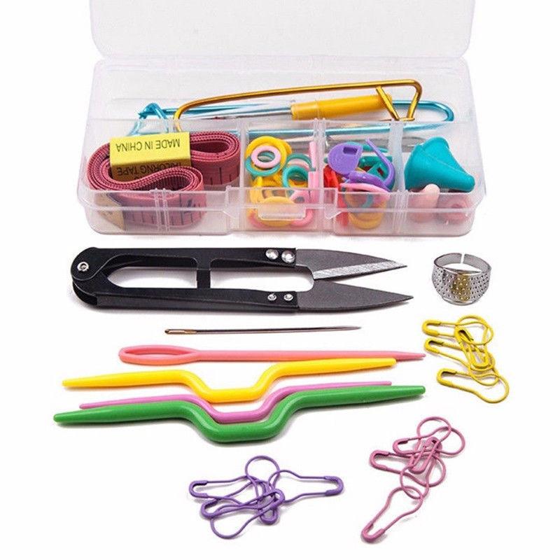 1 компл., пластиковый инструмент для вязания, многоцветный фломастер для вязания крючком, аксессуары для вязания, чехол, футляр