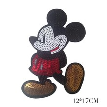 PGY 1PCS Cartoon Patches Sequins Mickey Mouse Movie Stars Patch Iron On For Clothing Child clothes Diy Ironing Stickers