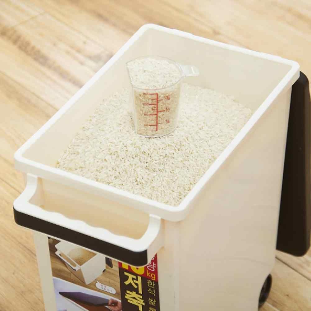 15KG de Arroz Caixa De Armazenamento Recipiente De Armazenamento De Alimentos Cozinha Caixa de Armazenamento de Grãos de Cereais com Rodízios Cinza