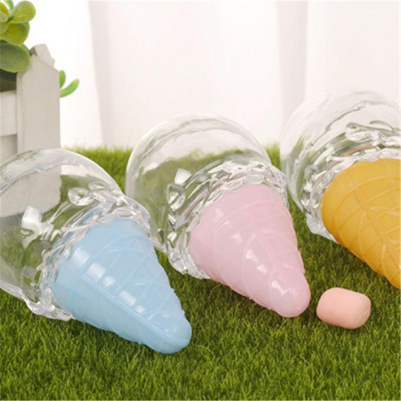 901aa8ab8 12 piezas de plástico creativo forma de helado caja de dulces lindo Paquete  de dulces boda Baby Shower niños cumpleaños Navidad Fiesta suministros ...