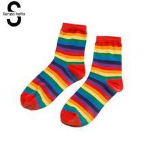 Fashion Cotton Socks Sweet Ice Cream Rainbow Color For Women Girls Spring Summer Autumn Fine NYY5940