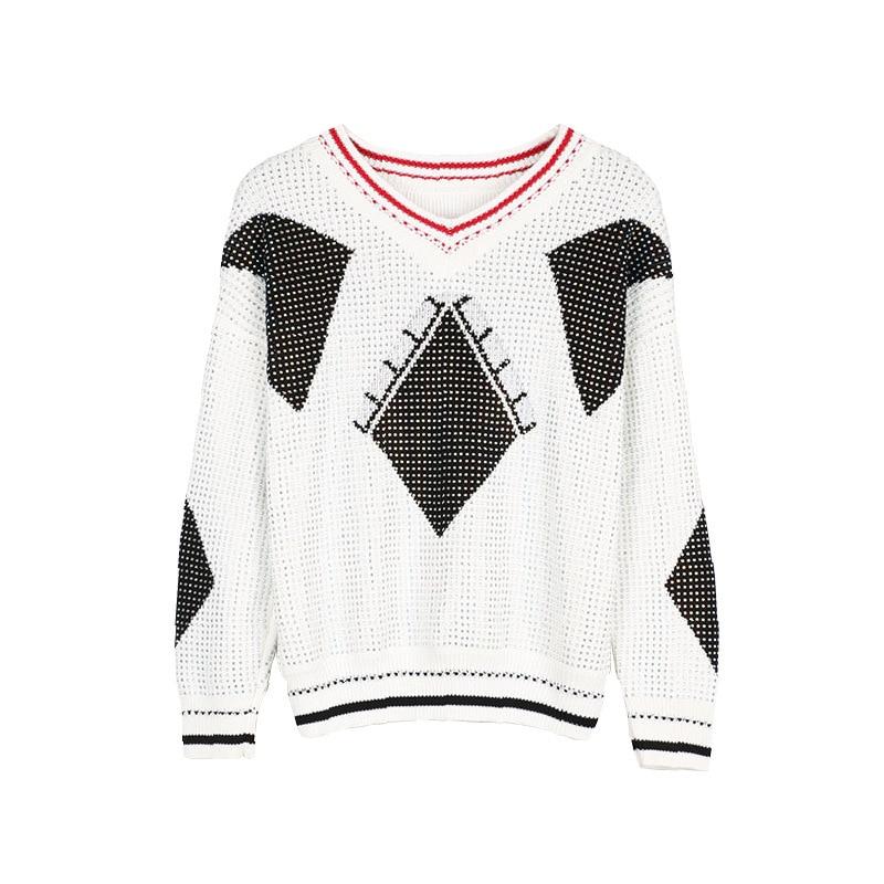 Entier Femme Pull cou Blouson tricot Pour Longues White Manches Corps Géométrique À V Diamant pxYBFF