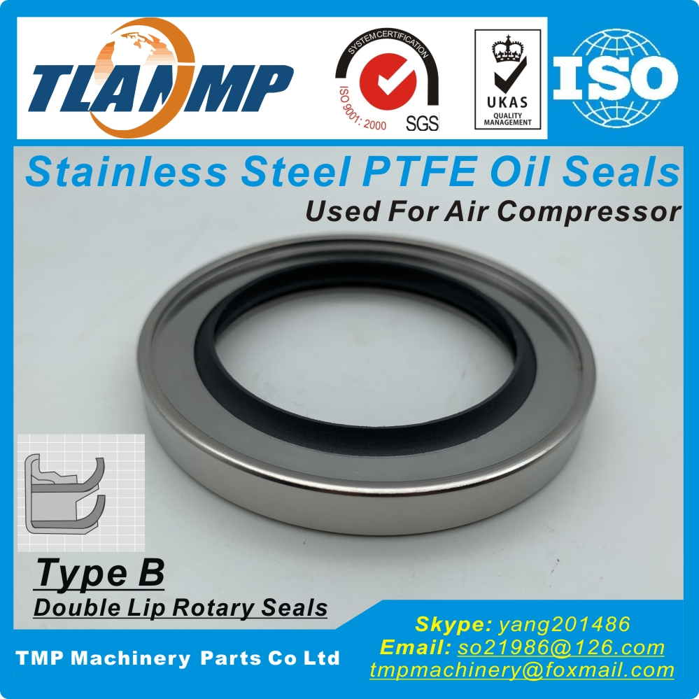 Inner size 60/65/68/70mm Double Lip Rotary Seals ,Type B High temperature Stainless steel PTFE Oil Seals Used for Air Compressor