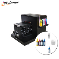Jetvinner A4 Size Flatbed Printer with Textile Ink Set for Whit and Color T shirt Clothing Printing Machine