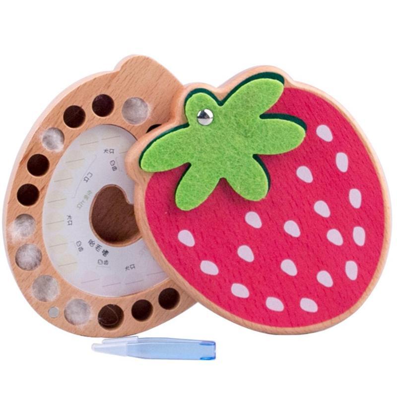 Baby Souvenirs Tooth Box Children Wooden Milk Teeth Organizer Storage Kids Strawberry Deciduous Teeth Storage Kid Souvenirs Gift