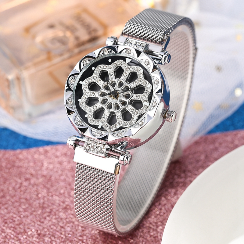 Women's Watch Fashion Bling Casual Ladies Turntable Watch Female Magnet Buckle Bracelets Jewelry Watch Crystal Diamond Clocks