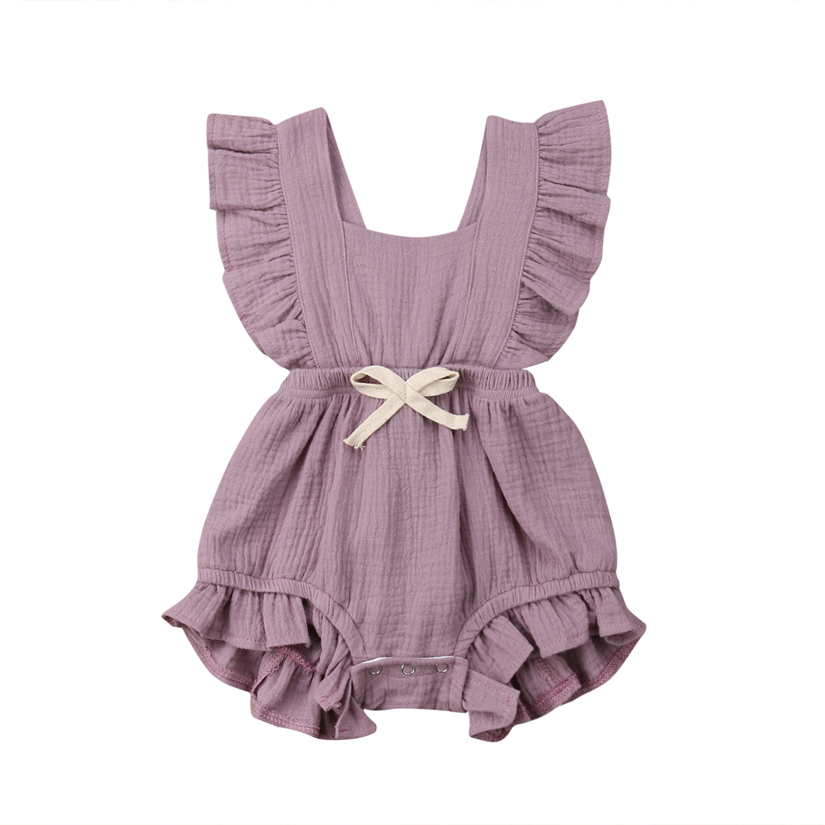 6 Color Cute Baby Girl Ruffle Solid Color Romper  Jumpsuit Outfits Sunsuit for Newborn Infant Children Clothes Kid Clothing(China)