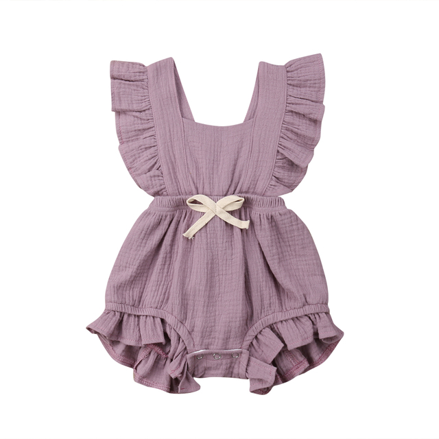 027f14943a158 6 Color Cute Baby Girl Ruffle Solid Color Romper Jumpsuit Outfits Sunsuit  for Newborn Infant Children Clothes Kid Clothing