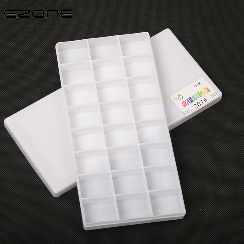 EZONE 24 Grids Color Palette For Watercolor Gouache Acrylic Painting Plastic Palettes Paints And Covers Kid Art School Supply