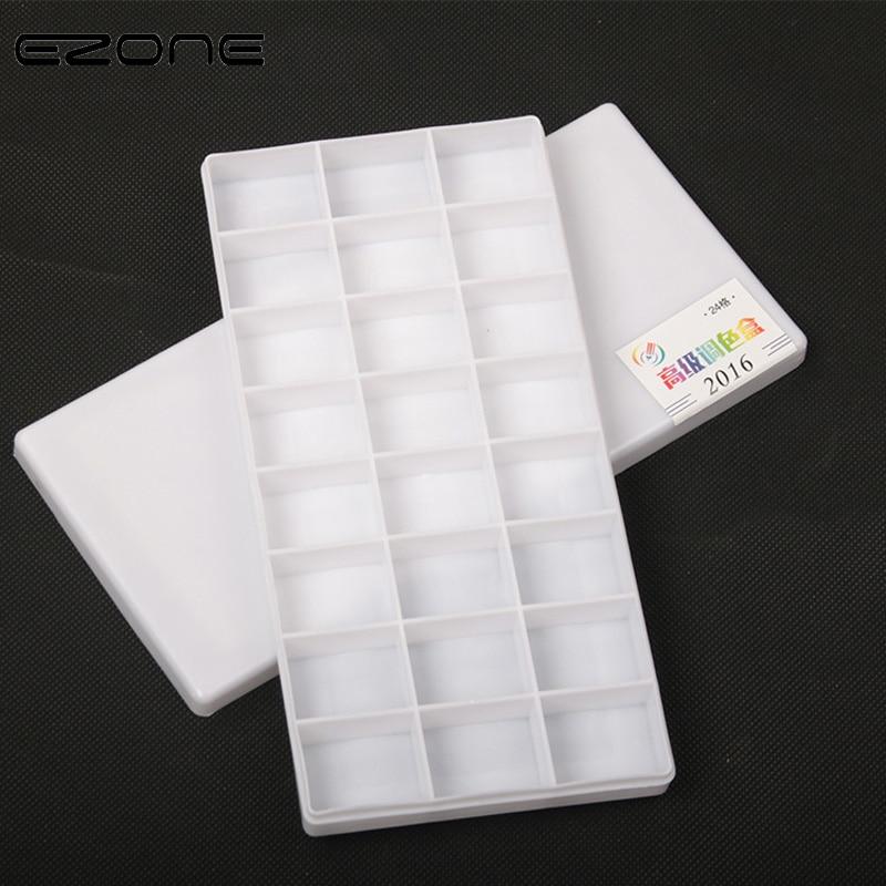 EZONE 24 Grids Color Palette For Watercolor Gouache Acrylic Painting Plastic Palettes Paints And Covers Kid Art School Supply