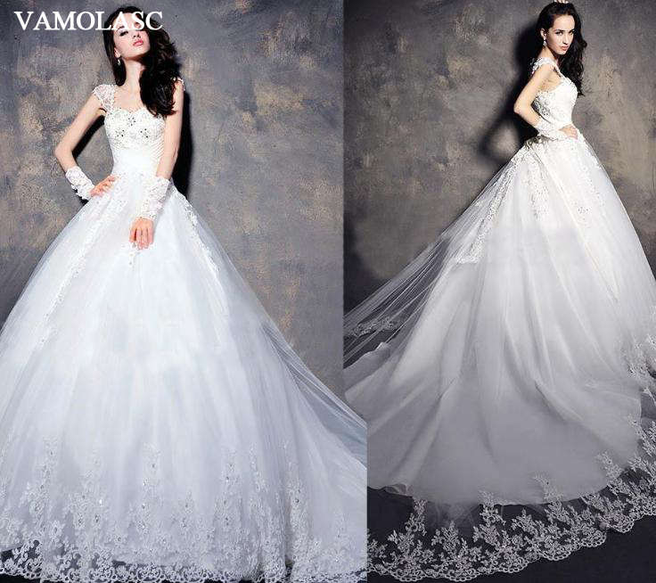 VAMOLASC Crystal Sweetheart Lace Appliques Court Train Ball Gown Wedding Dresses Short Cap Sleeve Backless Bridal Gowns