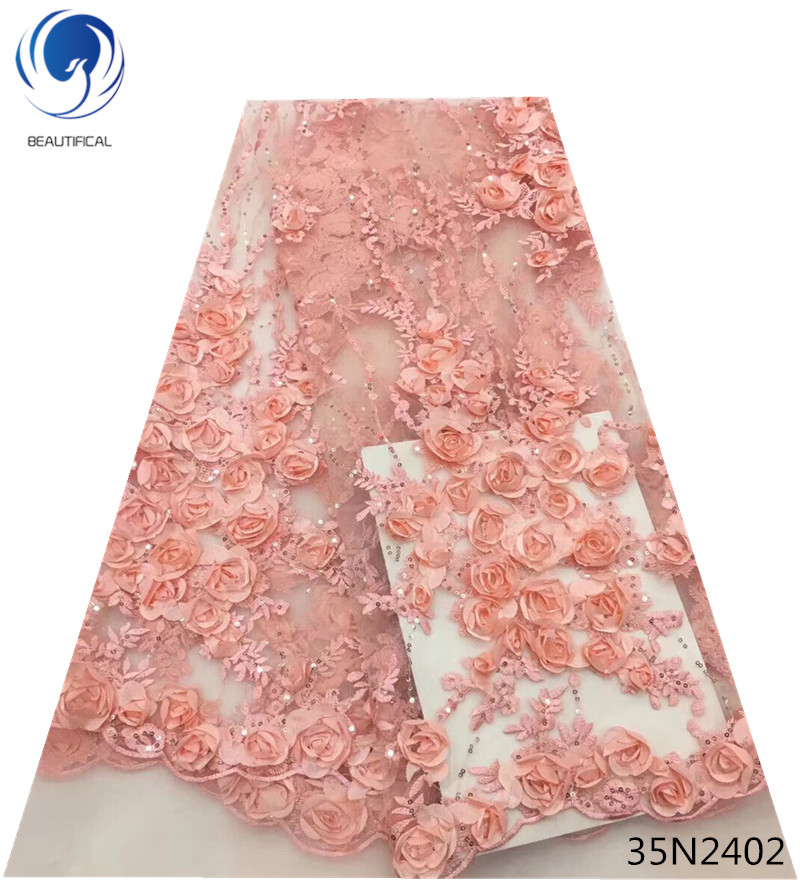 Beautifical peach nigerian lace fabric  african sequin lace fabric 5yards/lot 3d french lace fabric 3d flowers material 35N24Beautifical peach nigerian lace fabric  african sequin lace fabric 5yards/lot 3d french lace fabric 3d flowers material 35N24