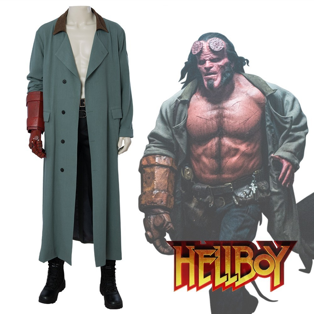 Hellboy Rise of the Blood Queen Anung Un Rama Cosplay Costume Superhero Halloween Trench pants leather belt Full set Custom Made