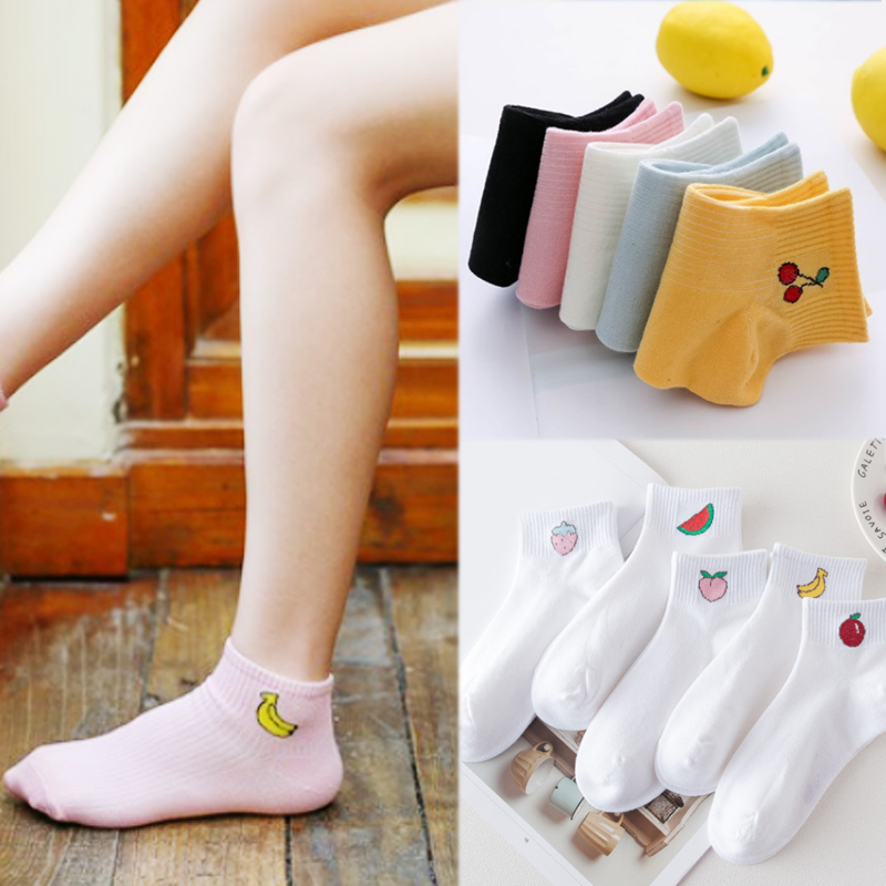 2018 New Hot Sale Korean High Quality Girls Fruit Printed Women Comfortable Cute Popular 1Pair Cotton Short Socks