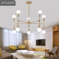 Artpad Nordic Modern Chandelier 6/8/10 Heads E27 Edison Bulb Ceiling Chandelier Lighting Fixture Bedroom Living Room Restaurant