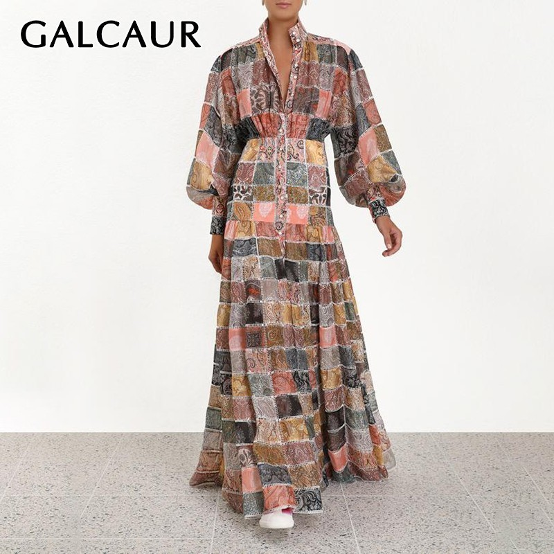 GALCAUR Vintage Print Women Dress Stand Lantern Sleeve High Waist Button Hit Color Maxi Dresses Female